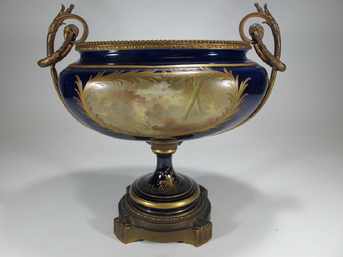 Antique French Sevres porcelain & bronze centerpiece - 7