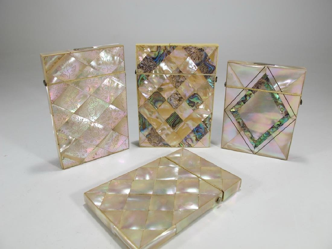 Antique set of 4 mother of pearl & abalone card boxes
