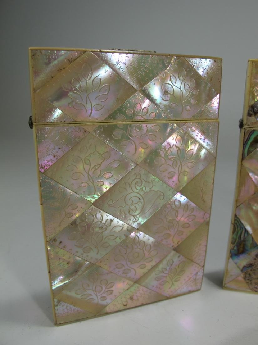 Antique set of 4 mother of pearl & abalone card boxes - 2