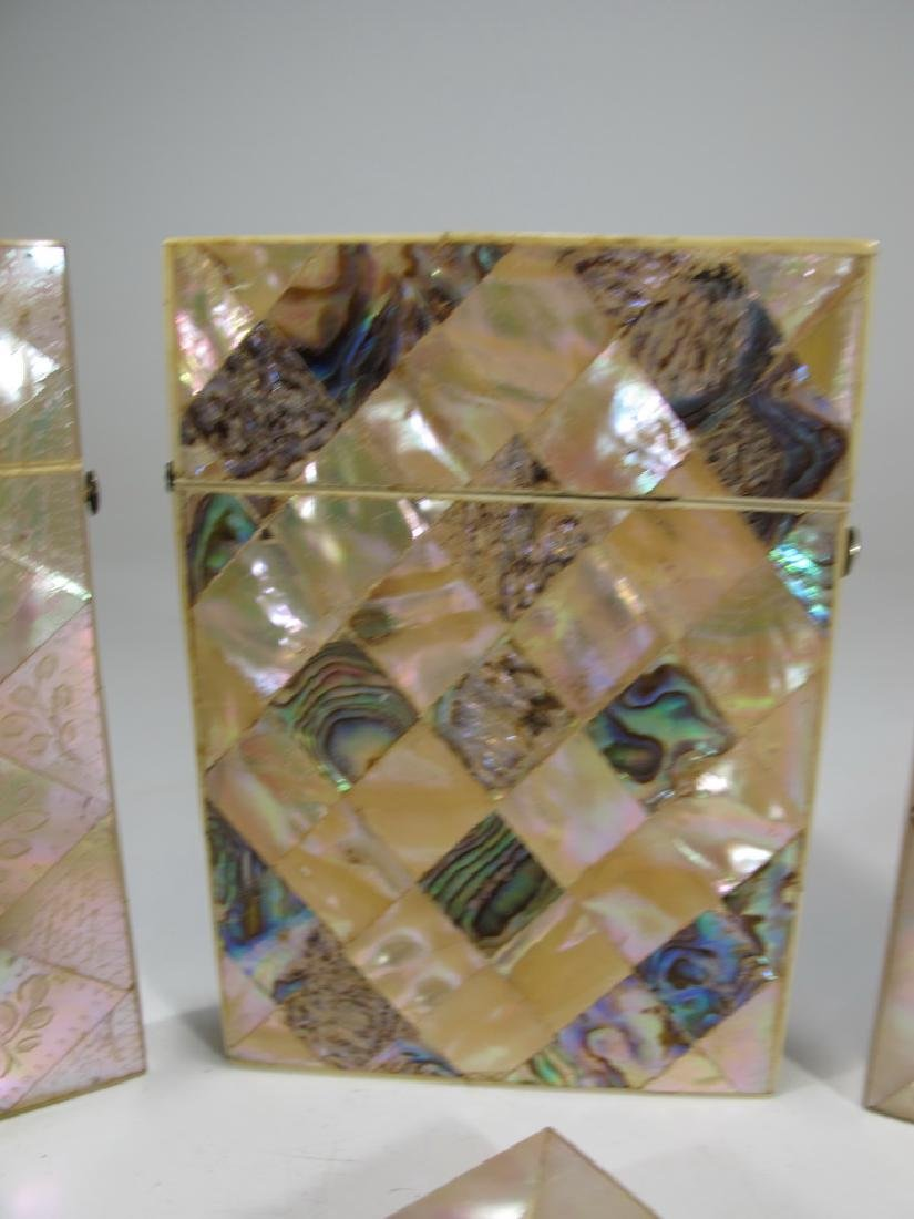 Antique set of 4 mother of pearl & abalone card boxes - 3