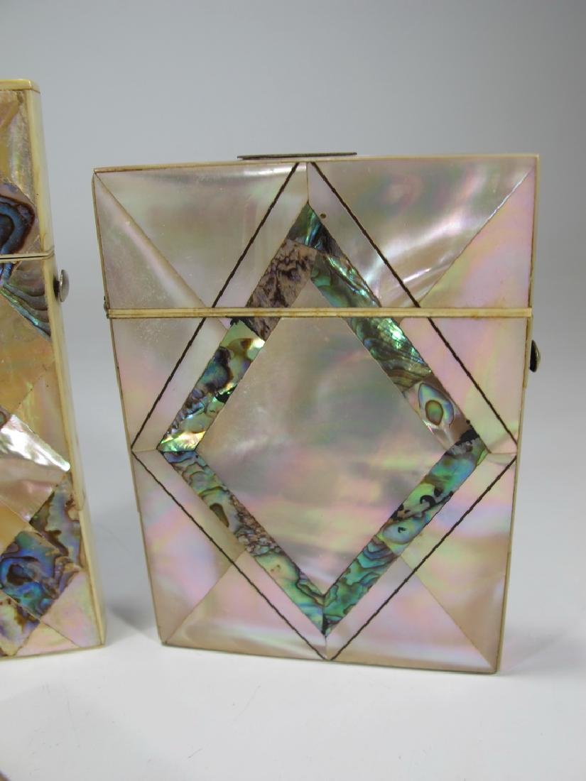 Antique set of 4 mother of pearl & abalone card boxes - 4