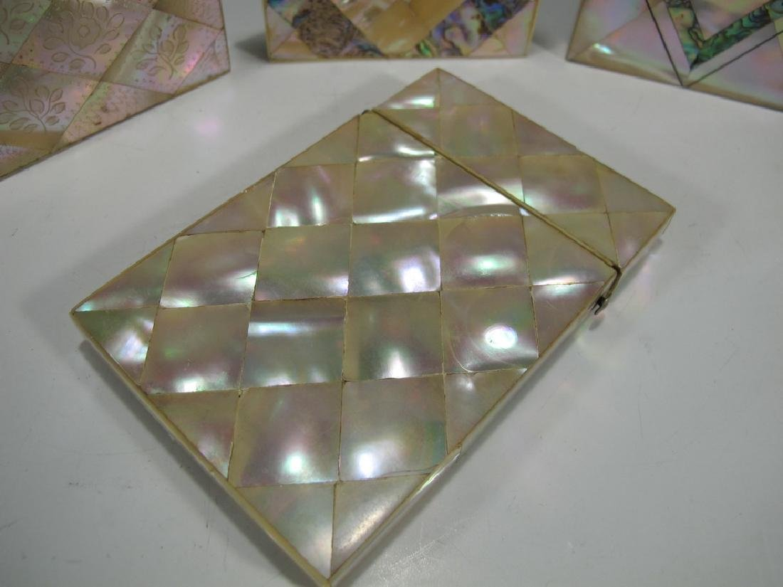 Antique set of 4 mother of pearl & abalone card boxes - 5