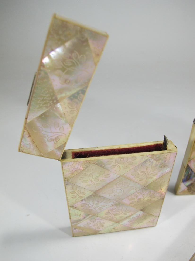 Antique set of 4 mother of pearl & abalone card boxes - 6
