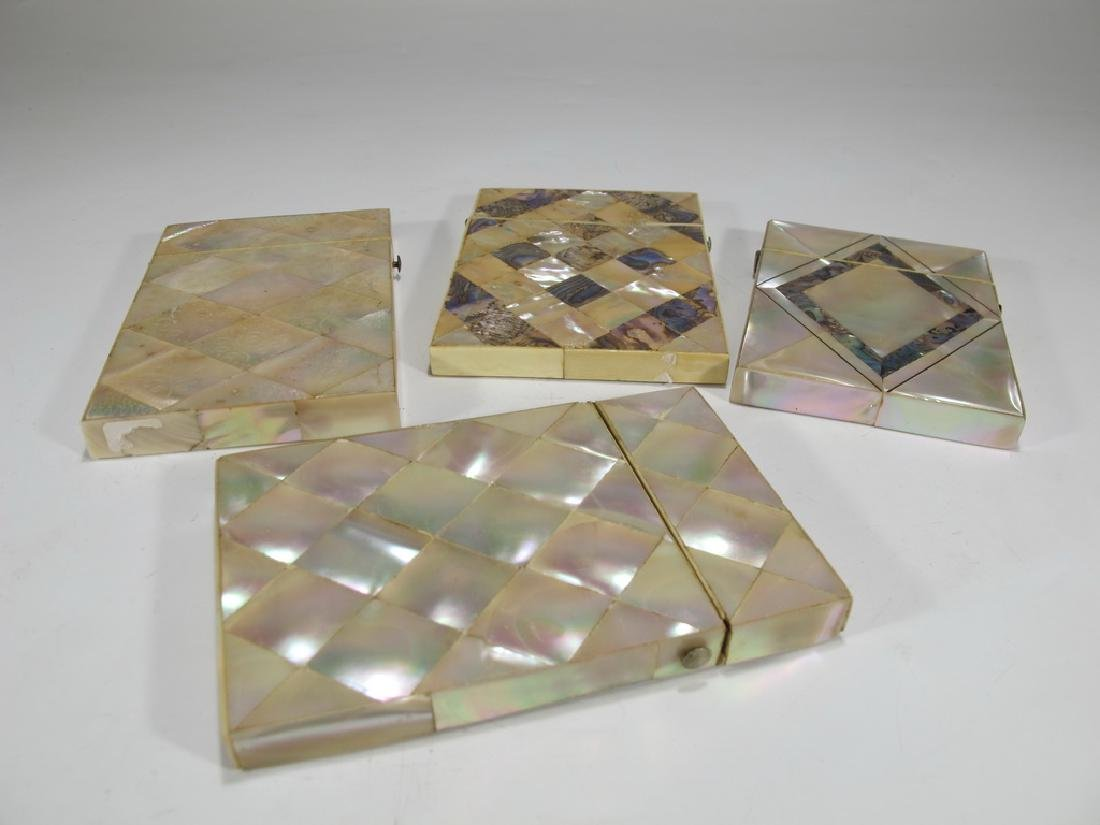 Antique set of 4 mother of pearl & abalone card boxes - 7