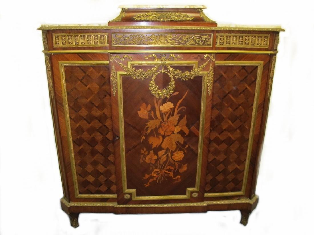 Antique Linke quality French ormolu inlaid cabinet