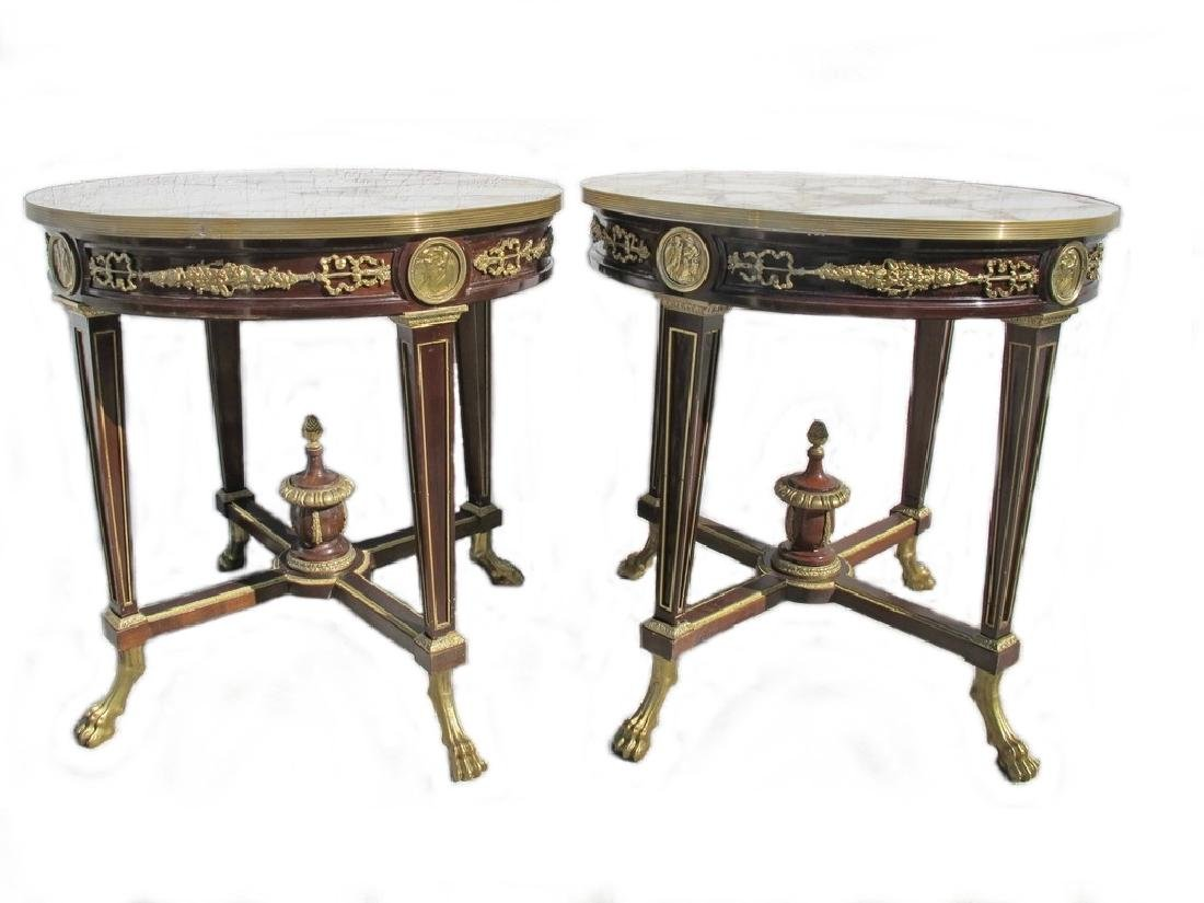 Vintage French pair of ormolu & marble side tables