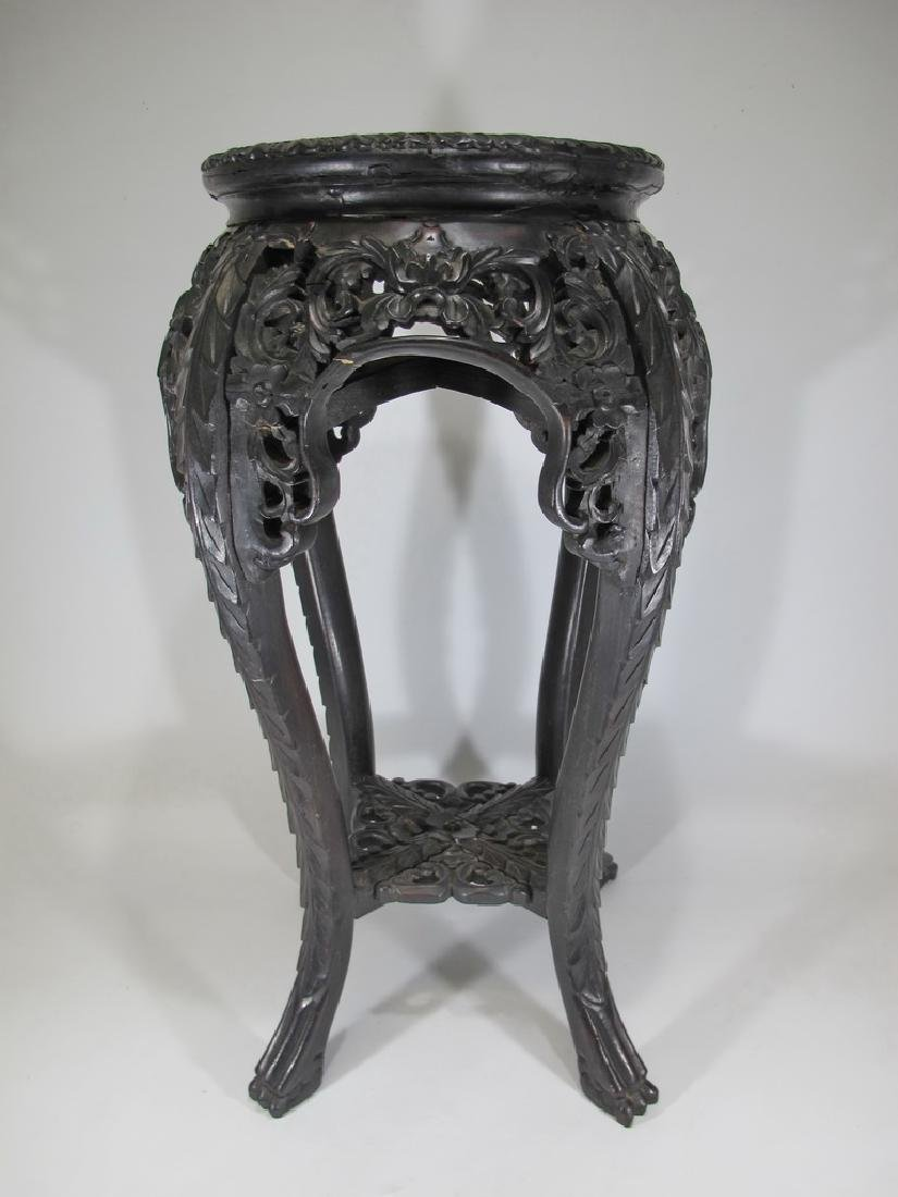 Antique Chinese carved wood & marble top pedestal