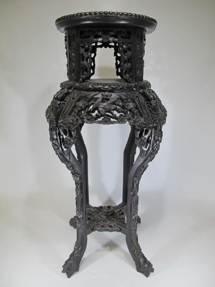 Rare Antique Chinese carved wood & marble top pedestal