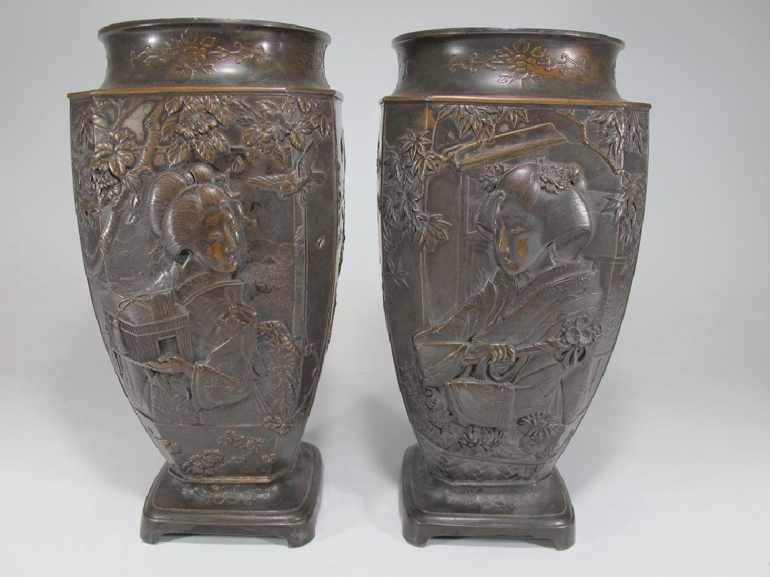 Antique Japanese pair of bronzed spelter vases