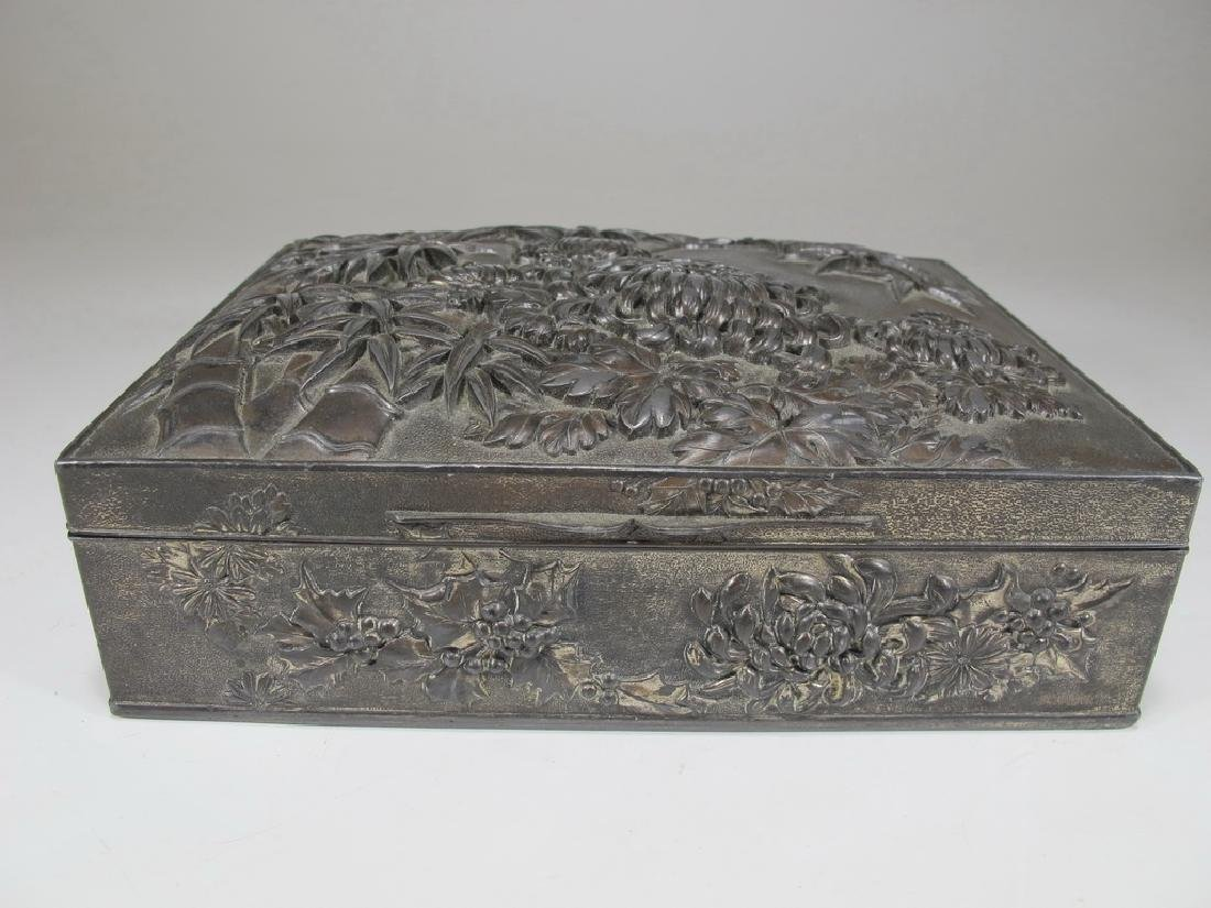 Antique Chinese silverplated spelter cigar box