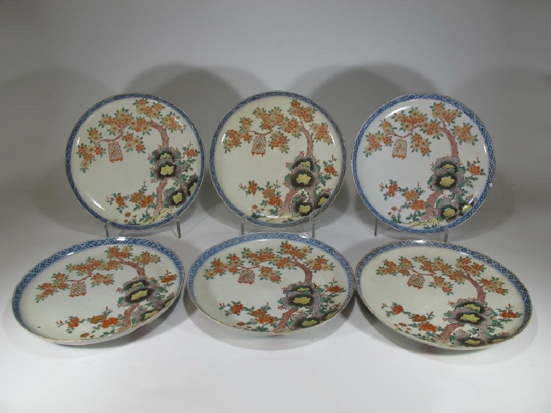 Antique probably Imari set of 6 porcelain plates