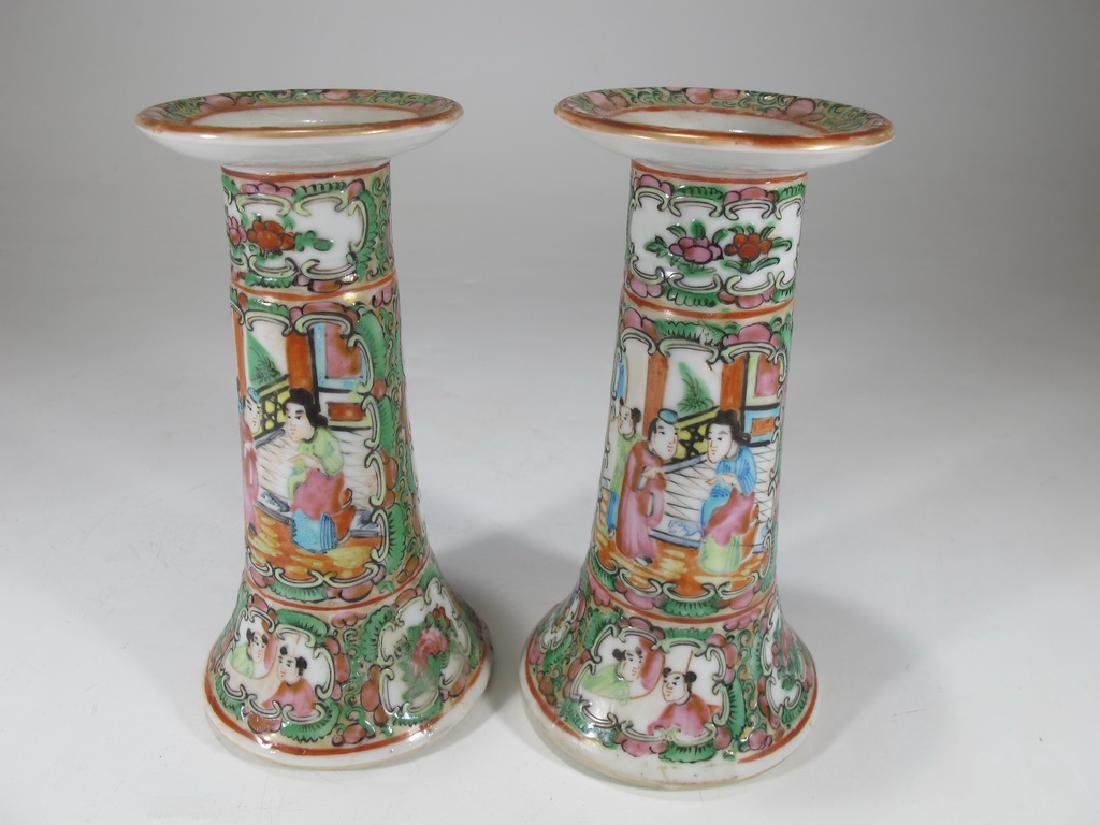 Antique Chinese Rose Medallon pair of porcelain