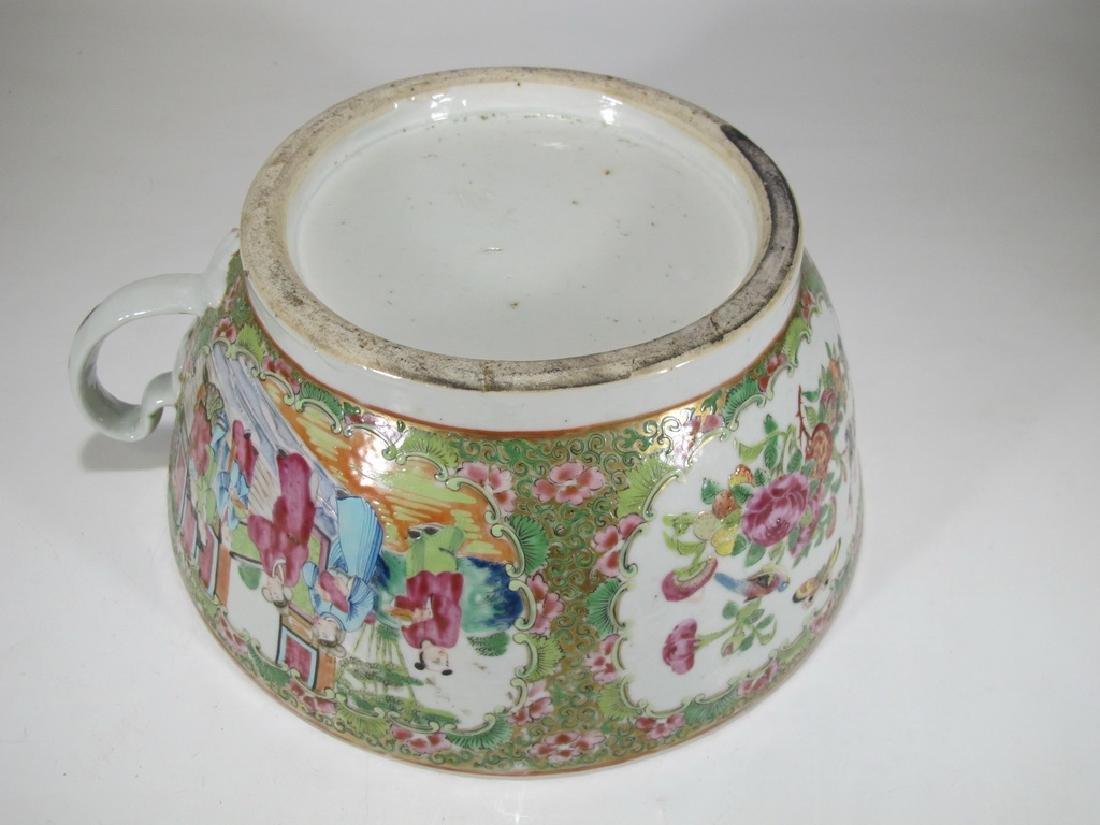 Antique Chinese Rose Medallon porcelain chamber pot - 7