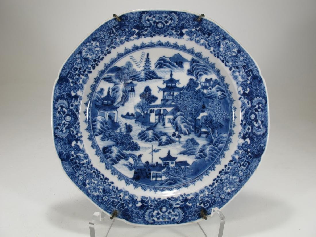 Antique Chinese Export blue & white porcelain plate