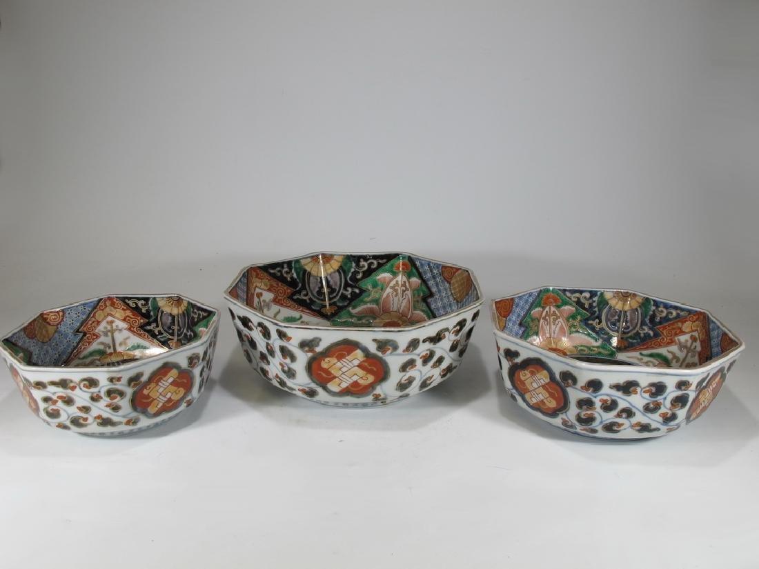 Antique Japanese Imari set of 3 porcelain bowls