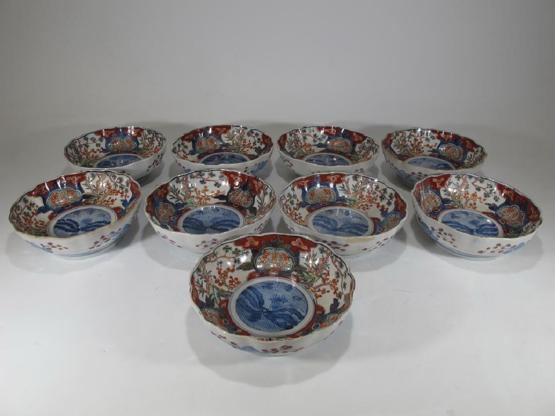 Antique Japanese Imari set of 9 porcelain bowls