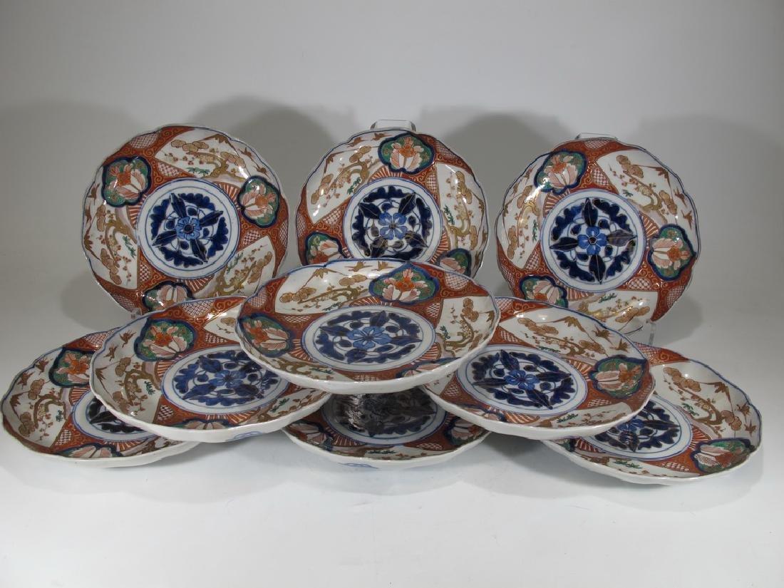 Antique Japanese Imari set of 9 porcelain plates