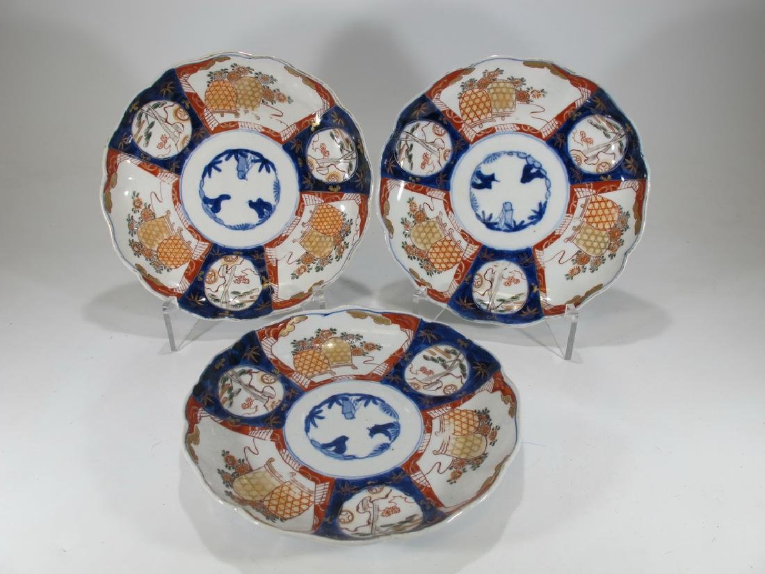 Antique Japanese Imari set of 3 porcelain plates