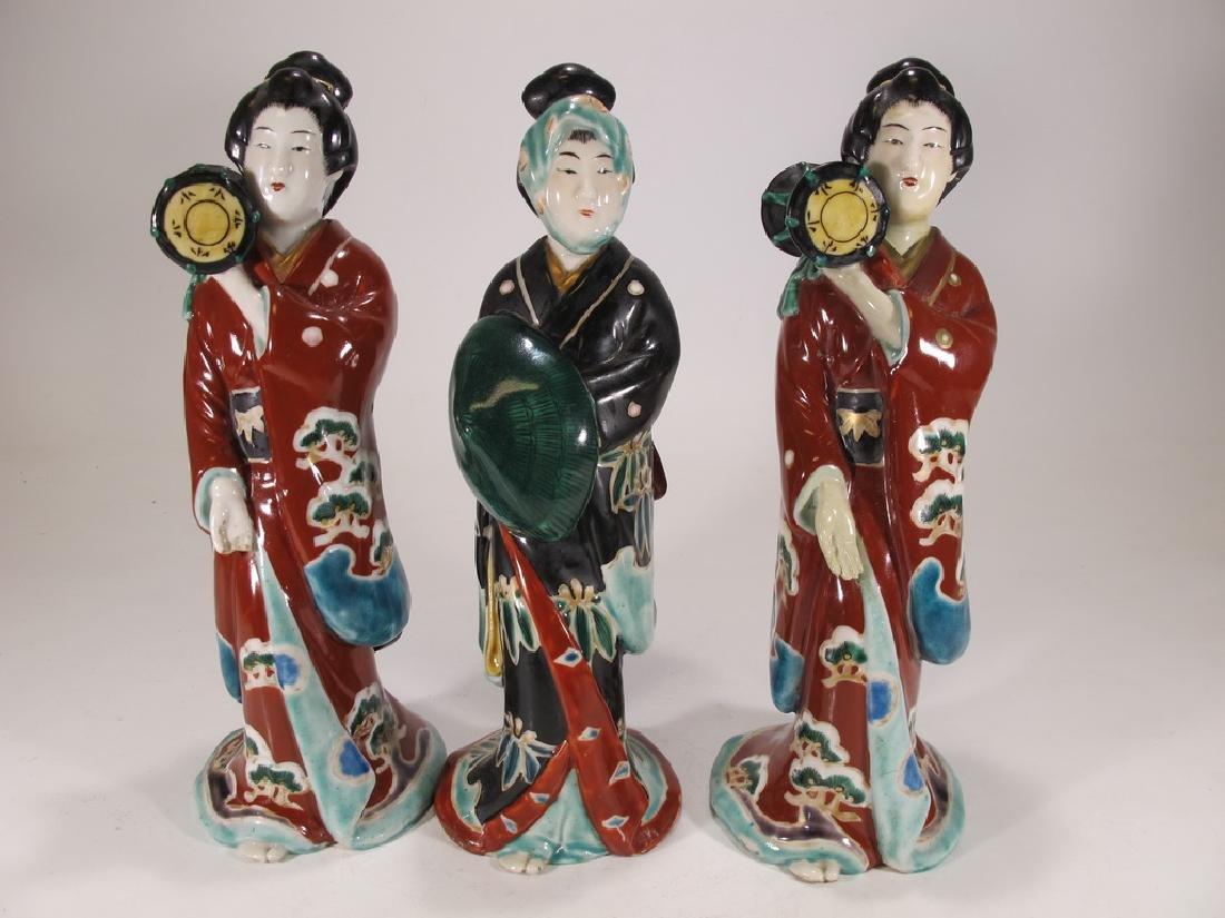 Antique Japanese Imari porcelain set of 3 statues