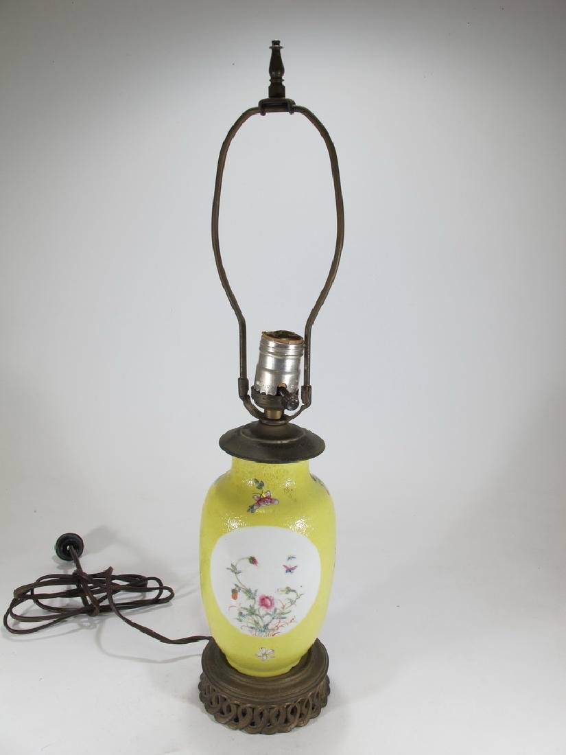 Antique Chinese porcelain & metal table lamp