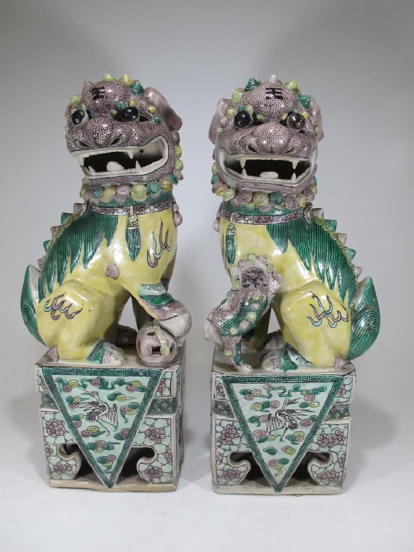 Antique Chinese pair of Foo Dogs sculptures