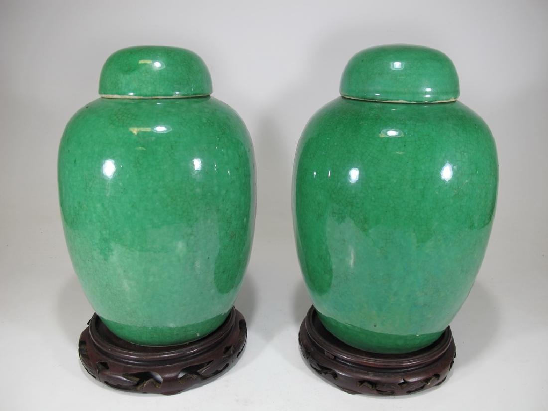 Antique Chinese Green Crackle Glaze pair of Ginger Jars
