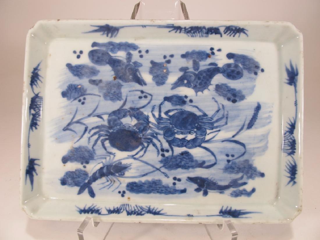 Antique chinese Blue Canton porcelain dish