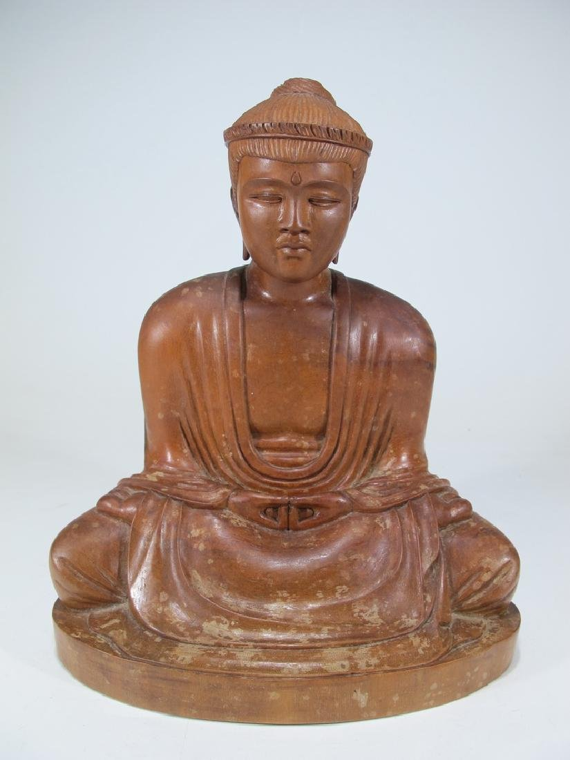 Antique Chinese carved wood Buddha sculpture