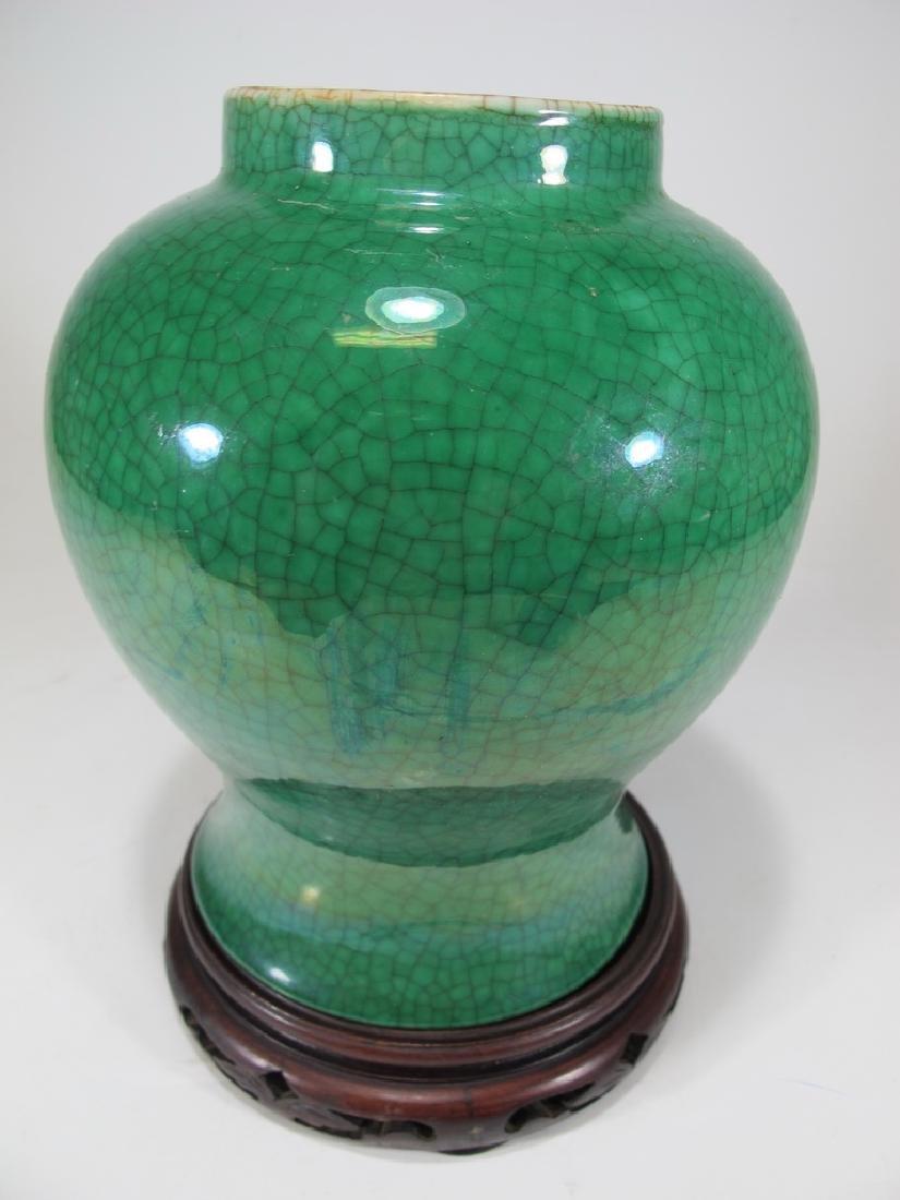 Antique Chinese green Crackle Glaze Ginger Jar