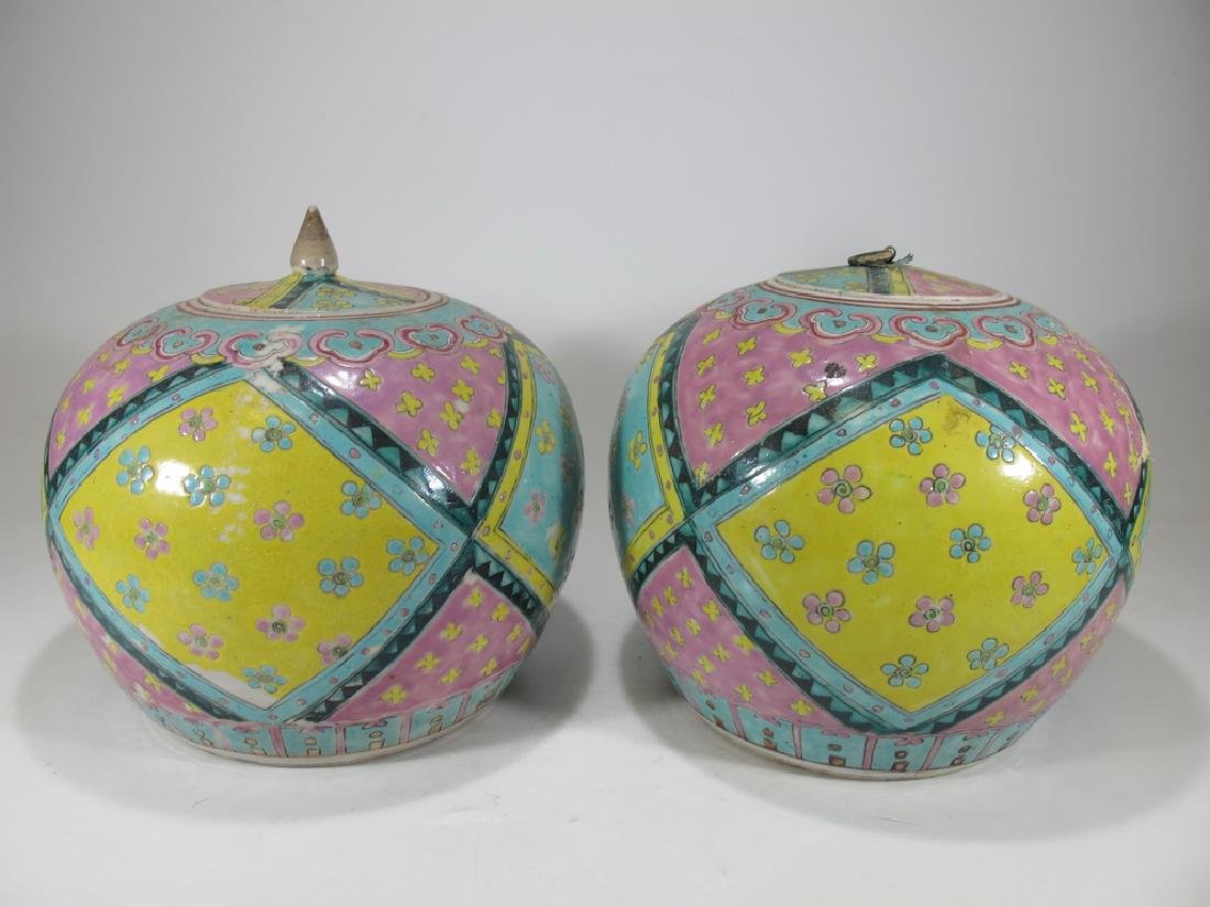 Antique Chinese pair of porcelain ginger jars