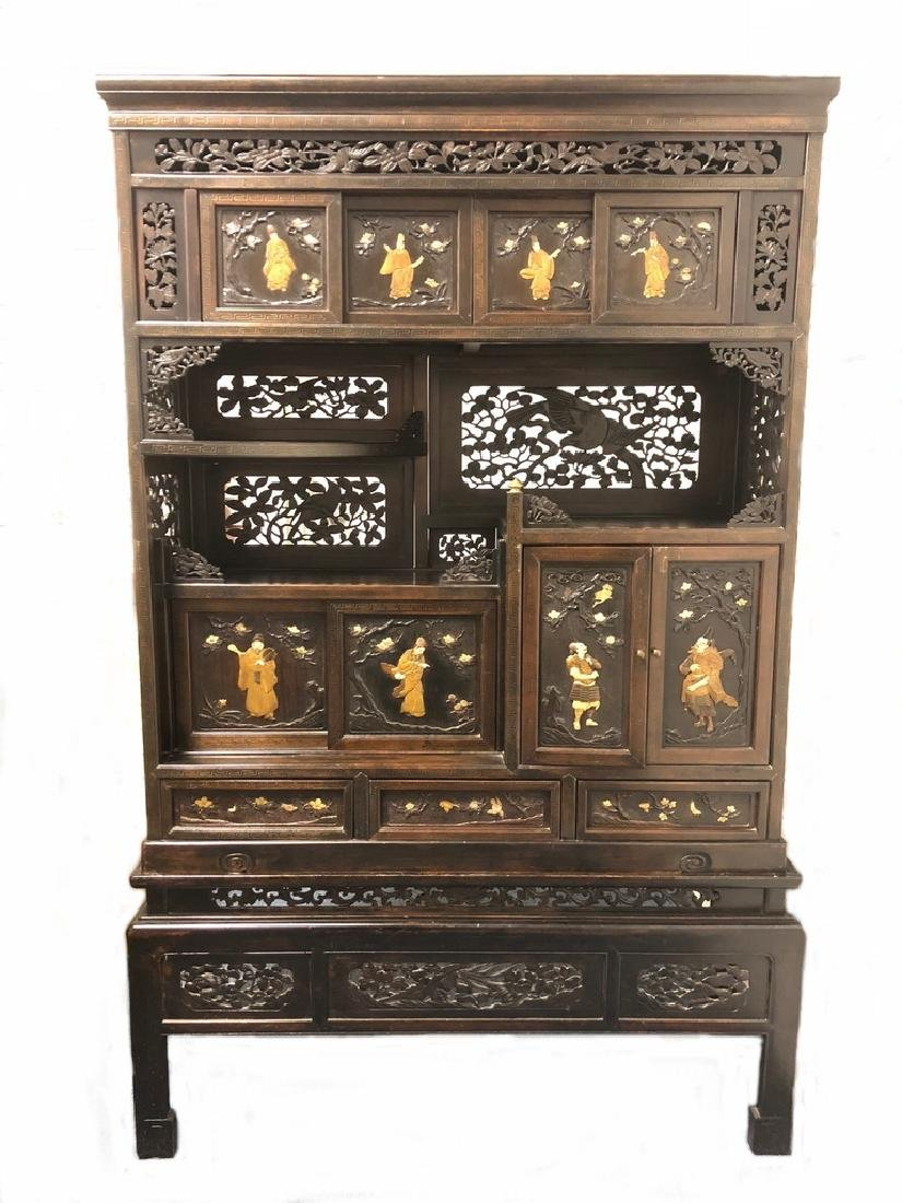 Great Chinese carved wood cabinet