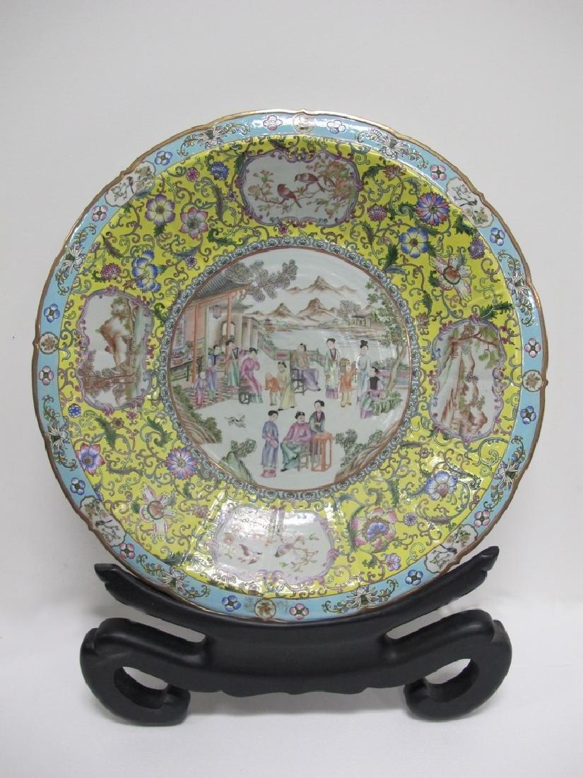 Antique Chinese porcelain enamel glaze charger plate