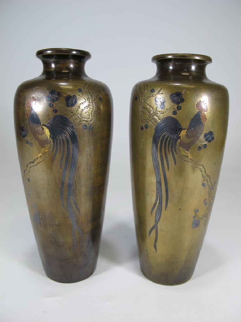 Antique Japanese pair of inlaid bronze vases