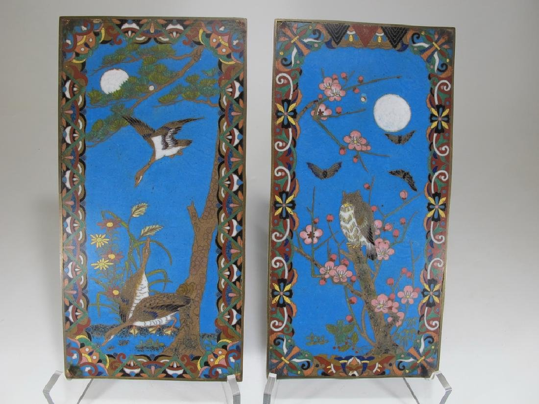 Antique pair of Cloisonne plaques
