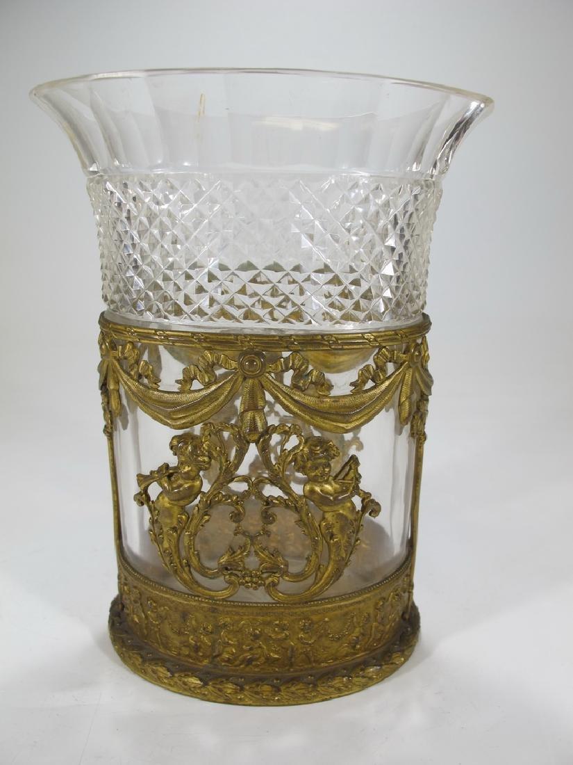 Antique Baccarat style bronze & crystal vase