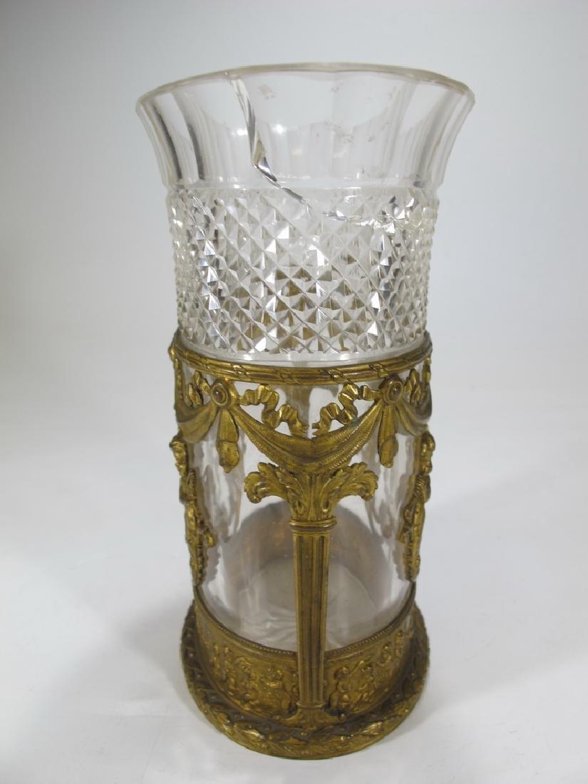 Antique Baccarat style bronze & crystal vase - 4
