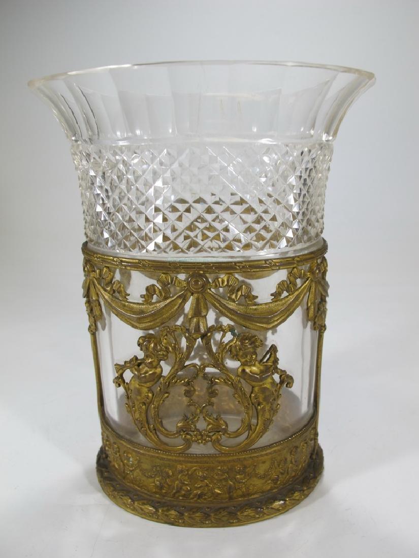 Antique Baccarat style bronze & crystal vase - 5