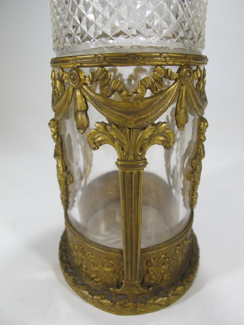 Antique Baccarat style bronze & crystal vase - 6