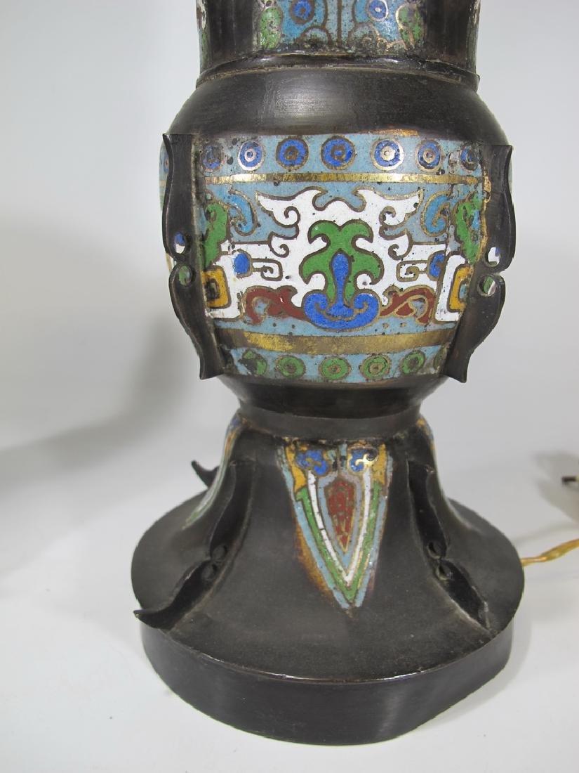 Antique Oriental pair of bronze cloisonne lamps - 5