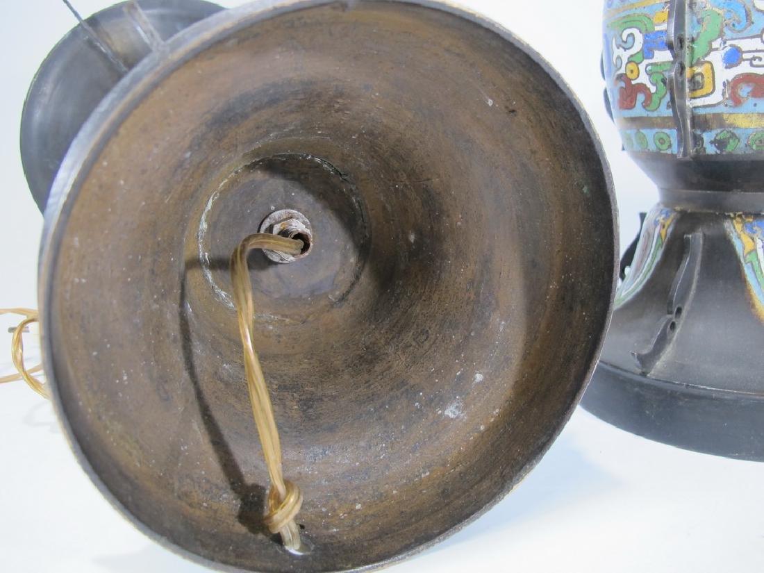 Antique Oriental pair of bronze cloisonne lamps - 8