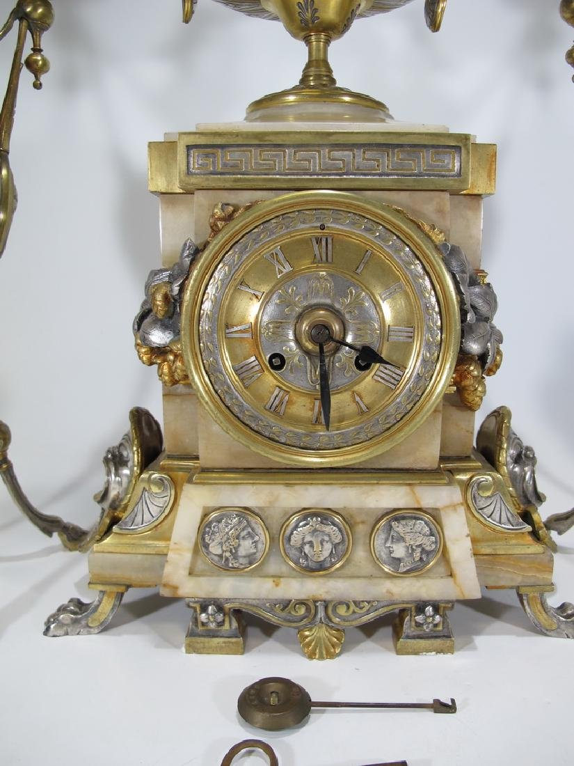 Awsome silvered bronze & onyx French clock set - 2