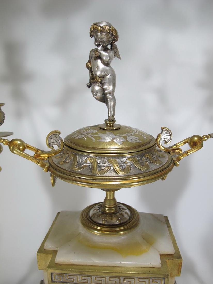 Awsome silvered bronze & onyx French clock set - 3