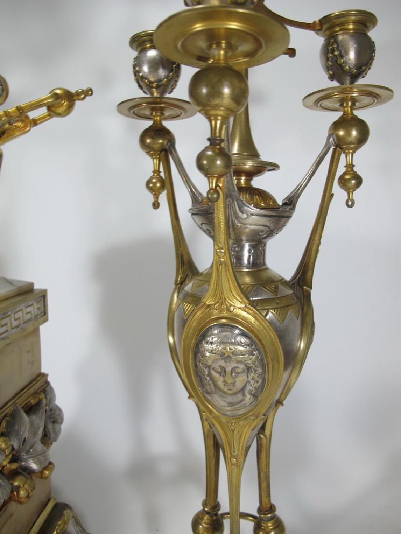 Awsome silvered bronze & onyx French clock set - 5