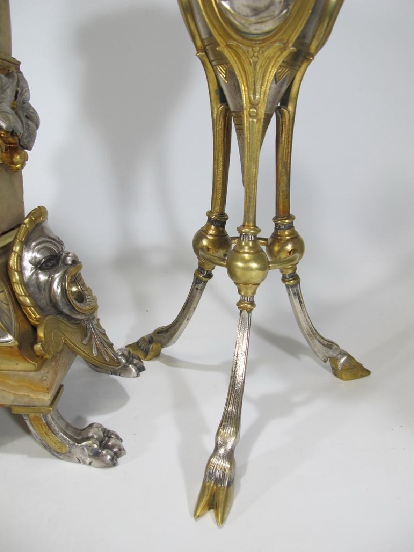 Awsome silvered bronze & onyx French clock set - 6