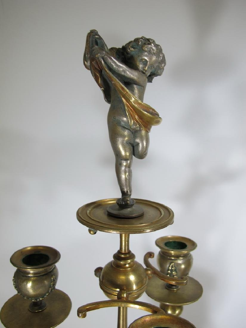 Awsome silvered bronze & onyx French clock set - 7