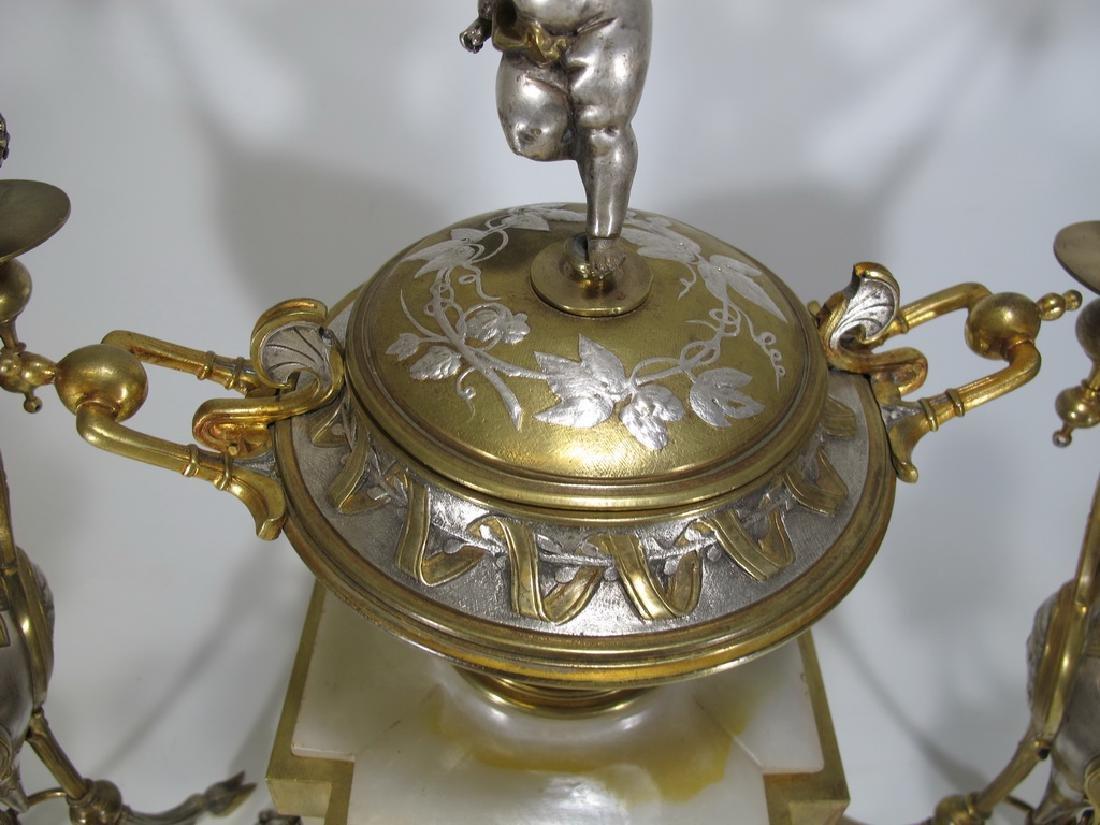 Awsome silvered bronze & onyx French clock set - 8
