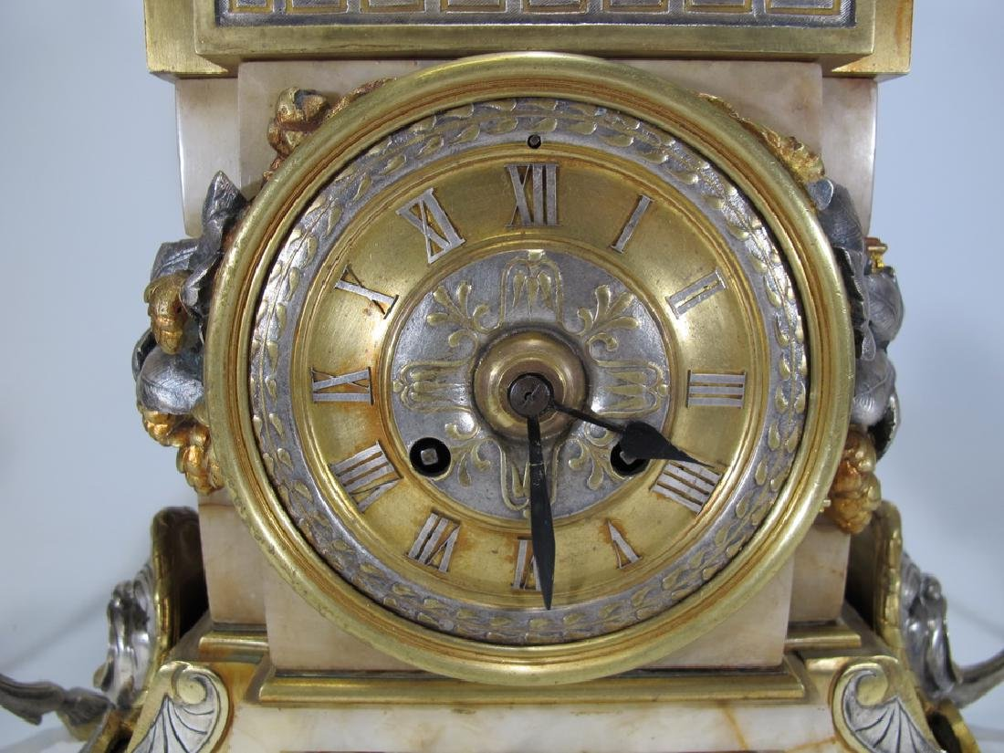 Awsome silvered bronze & onyx French clock set - 9