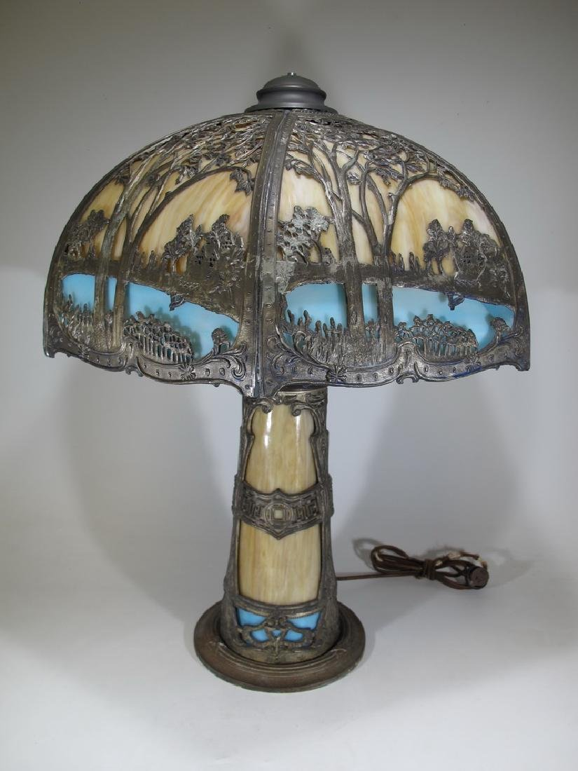 Antique American slag glass table lamp