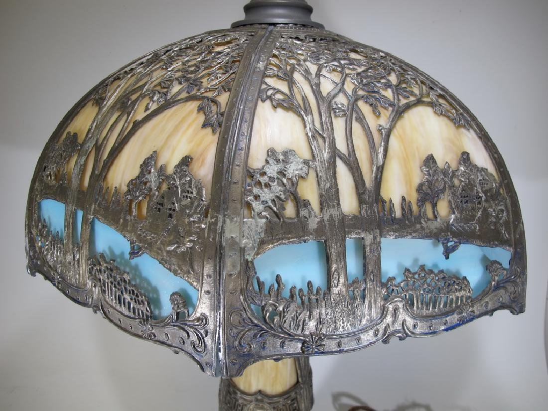Antique American slag glass table lamp - 4