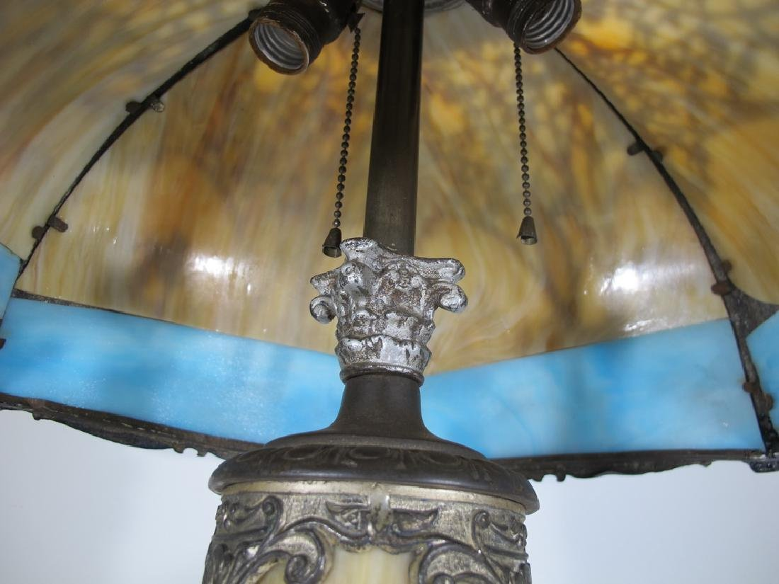 Antique American slag glass table lamp - 6